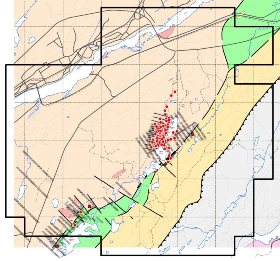 613000mE 614000mE 615000mE Moosehead Project > Historic Drilling & Soil Sampling Diamond drilling was generally focused within an