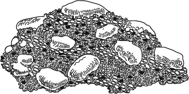 8. Base your answer(s) to the following question(s) on the diagram below, which represents a rock composed of cemented pebbles and sand. This rock should be classified as A.