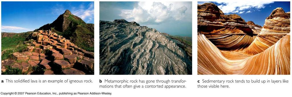 Reconstructing the history of Earth and life Types of rocks Igneous molten