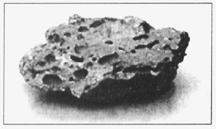 36. Which graph best represents the relative densities of three different types of igneous rock? 1) 37. The photograph below shows an igneous rock.