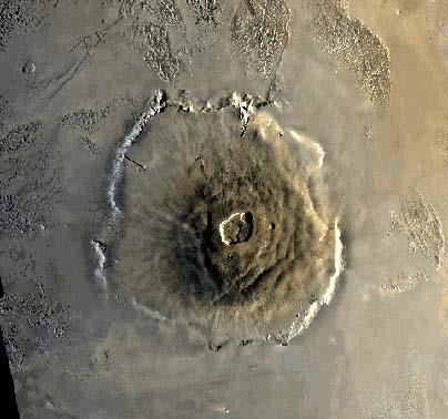 Olympus Mons, Mars The volcano is nearly 27