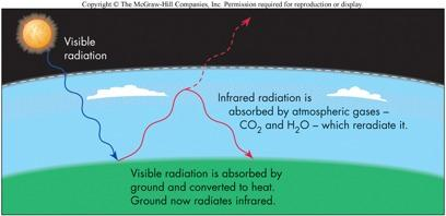 The Greenhouse Effect Some gases act like glass:! They are transparent to visible light but block infrared light!