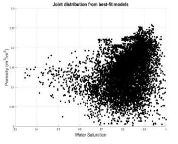 marginal and joint probability distributions as inferred from the available well-log data.