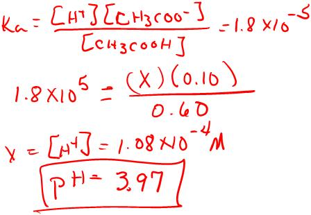 8. a. (6 points) Calculate the ph of a solution that is 0.60 M CH 3 COOH and 0.10 M CH 3 COONa. pk a = 4.74. Show ALL REACTIONS and all WORK. page 2 9. b.