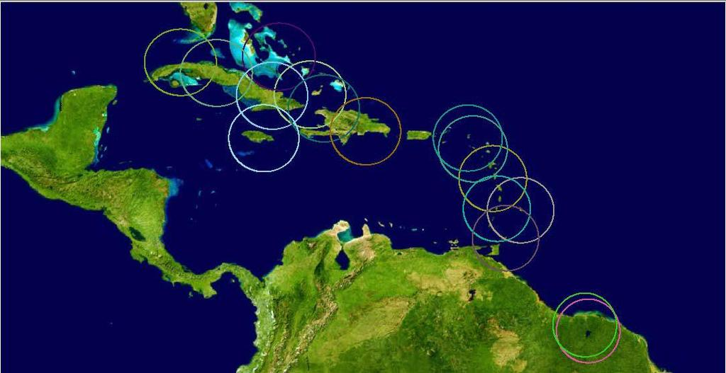 Regional Examples 18 UN-GGIM Americas: Caribbean Project Location of GNSS Stations Bahamas Cuba Republica Dominicana