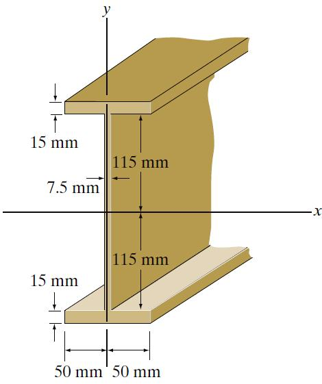 -6 - Figure 6(a)/Rajah 6(a) [b] Figure 6(b) shows the cross-section of an I-beam. Determine the moments of inertia of the cross-sectional area with respect to the x and y axes.