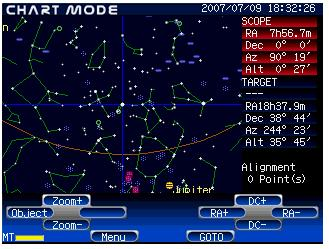 Using the Zoom+ or Zoom- keys to change the scale of the star chart on the screen will help you to center your reference object correctly.