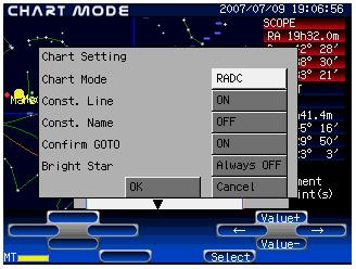 Page 36 Chart Setting Press Menu to access system settings. The Menu key is available in both CHART MODE and SCOPE MODE. (1) Press Menu to display the System Menu on the screen.