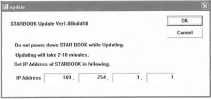 Page 56 Procedures (for Windows) (1) Download the latest firmware version from STARBOOK updates information to a directory on your PC. (2) Connect the STARBOOK and the PC with the LAN crossover cable.