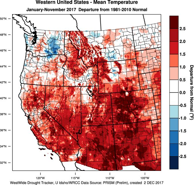 The year to date temperature pattern for the western US continues to show mostly warmer than average conditions (Figure 2).