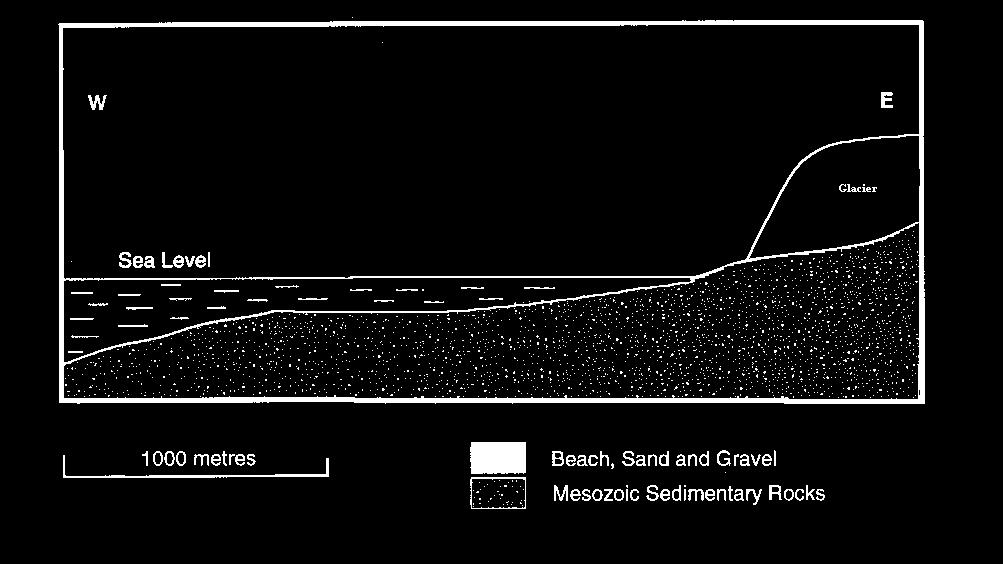 One prominent feature of the coastal section is the series of beaches at different heights above sea level. Give two geologically reasonable explanations for how the beaches could have formed.