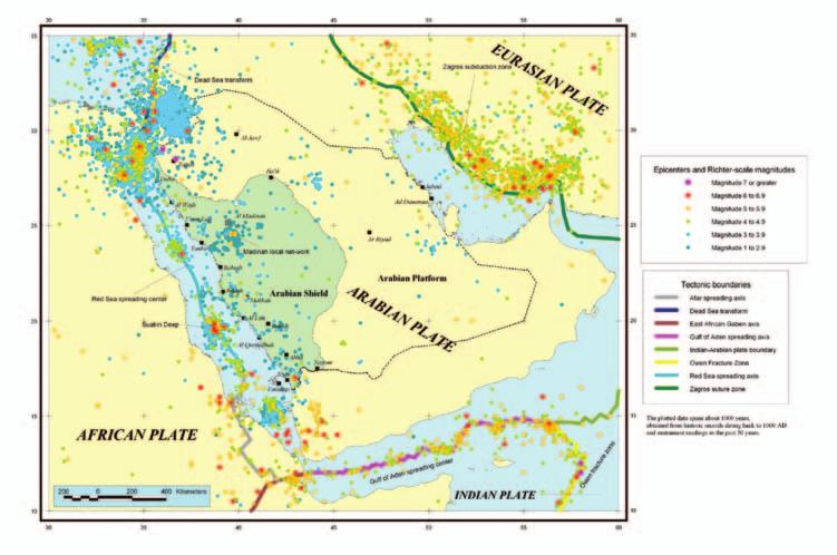 224 Saudi Arabia: An Environmental Overview Figure 9.6 Seismic activity map constructed by the Saudi Geological Survey (Courtesy: Saudi Geological Survey).