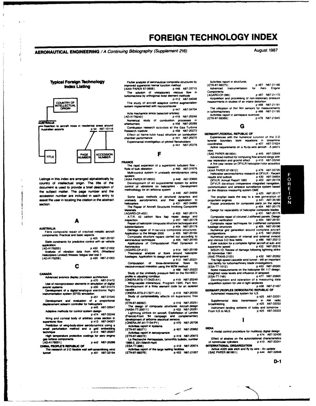 FOREIGN TECHNOLOGY INDEX AERONAUTICAL ENGINEERING /A Continuing Bibliography (Supplement 216) August 1987 1Tjpfca FrIgu lbchnml y Flutter analysis of1 onautical composite stutrsby Activities report