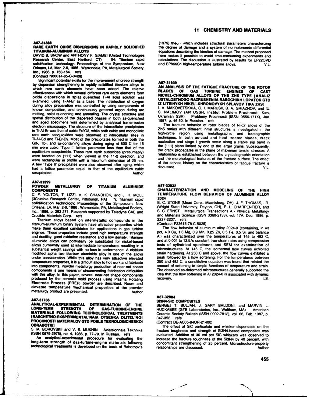 11 CHEMISTRY AND MATERIALS A17-3138 (1979) theou, which includes structural parameters characterizing RARE EARTH OXIDE w isperslons IN RAPIDLY SOLIDIFIED the degree of damage and a system of nonhte