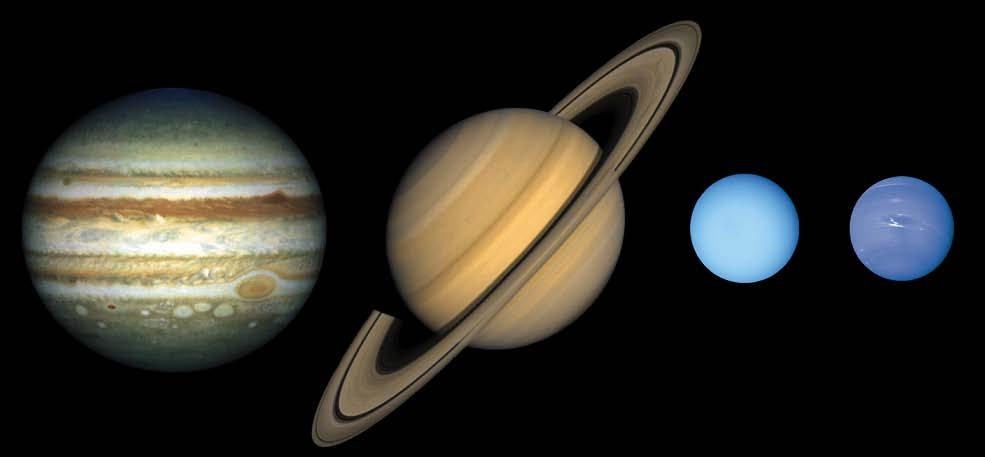 Jovian planets - gas giants - Large - Made mostly of gases with a rocky core - Low densities