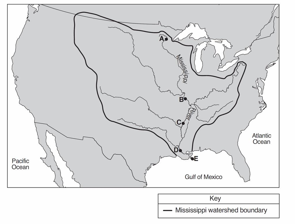 32. Base your answer to the following question on the map below, which shows a portion of the continent of North America and outlines the Mississippi