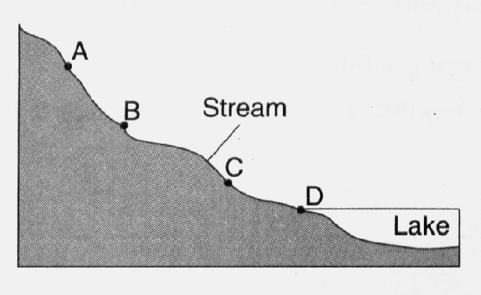 The map below shows a stream flowing into a lake. Locations A, B, and C are at the water's edge, and location D is on the lake bottom.
