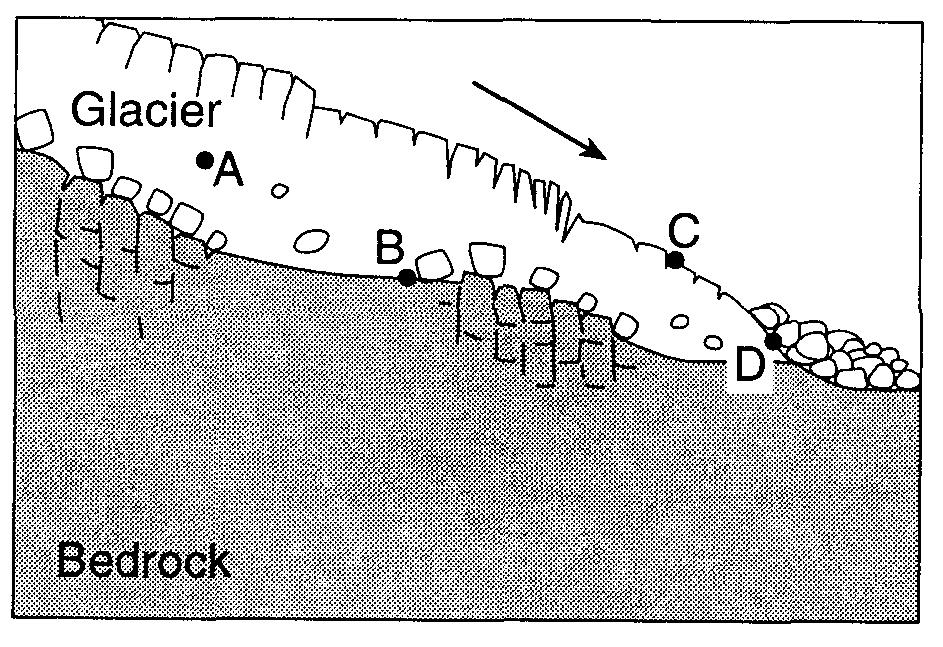 30. The cross section below represents the transport of sediments by a glacier.