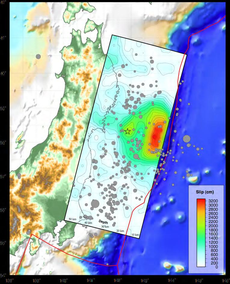 Tohoku Earthquake Fault Displacement Model Modeling of seismic waveforms shows maximum fault