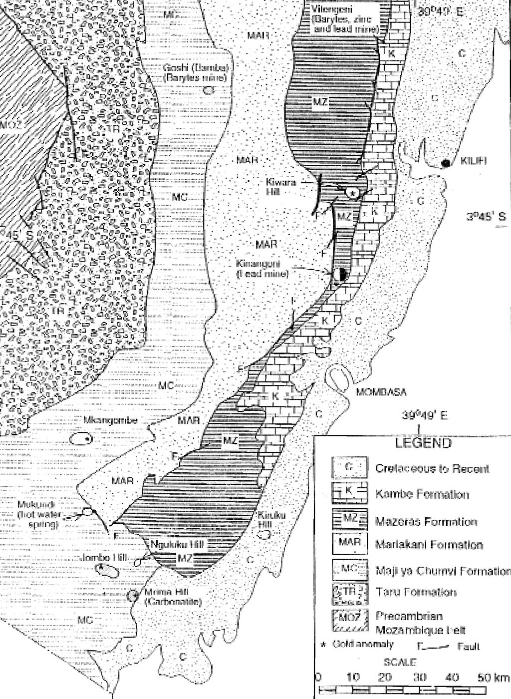 Map showing the general geology along the Kenyan coast, including major mineral