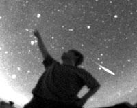 Meteors Quick streaks of light in the sky called meteors, shooting stars, or falling stars are not stars at all: they are small bits of rock or iron that heat up, glow, and vaporize upon