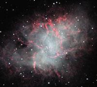 The cluster features a rich field of about 150 stars of magnitudes 12-15. M1 (Crab Nebula) M1: The Crab Nebula. The explosion that created this nebula was seen by Chinese astronomers in 1054 A.D.