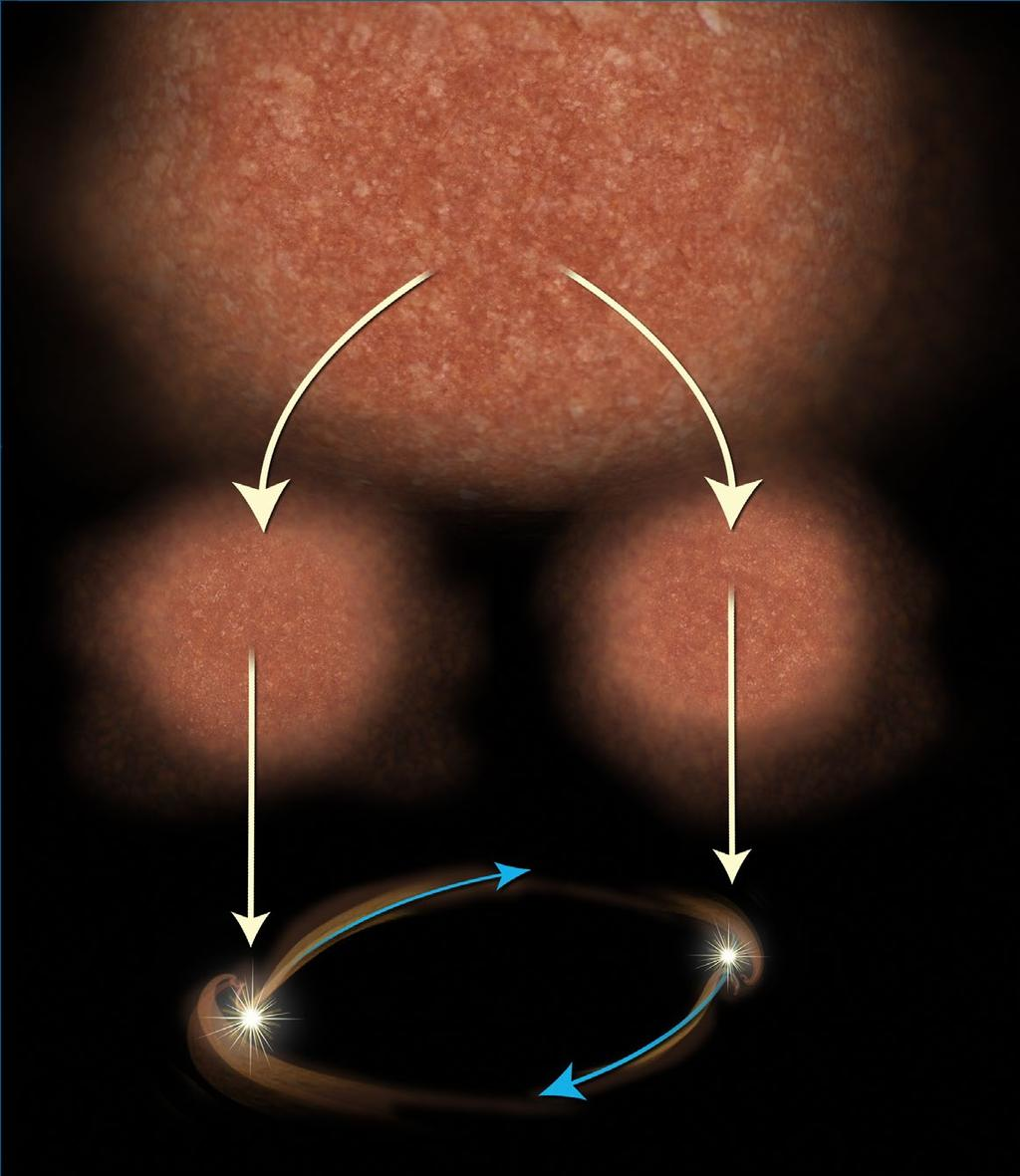 Dust disk Clump of gas condenses in