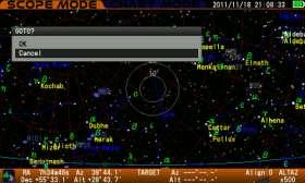 Bring Aldebaran in the center of the finder scope s field of view and look for it in the telescope s field of view Note: Aldebaran will be away from the center of the target circles on the screen as