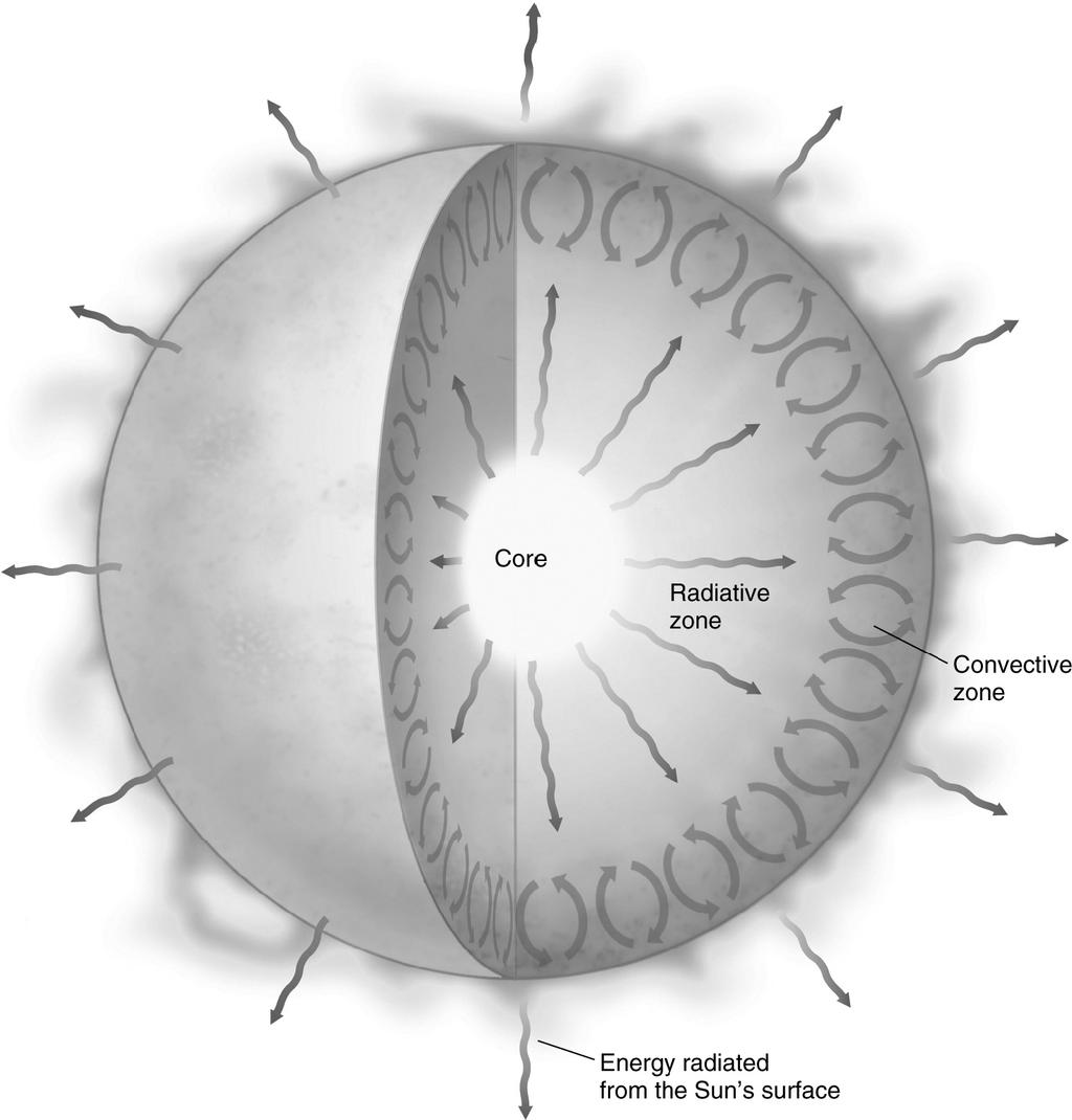 32. Examine the figure below. The interior zones of the Sun are distinguished by: jumps in density between zones. their modes of energy transport. their temperature profiles. all of the above 33.