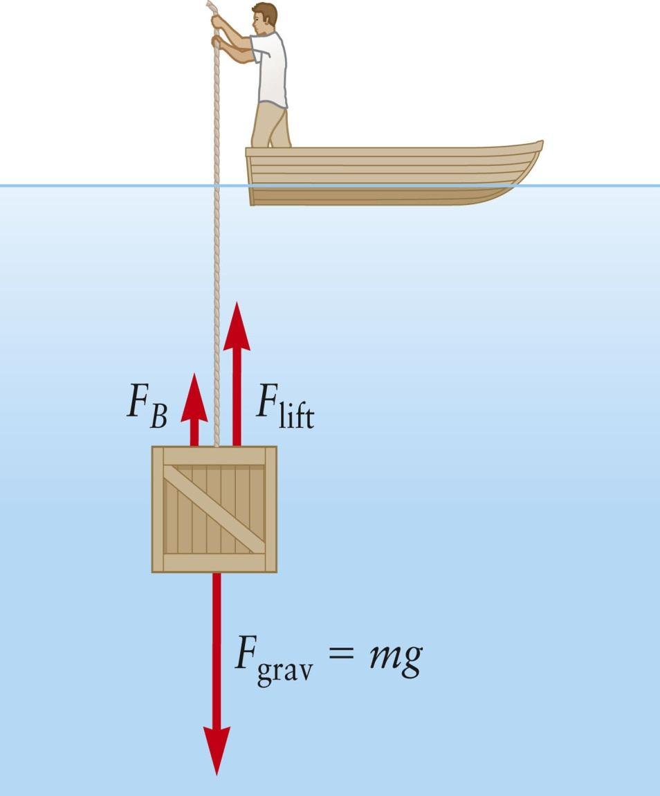 Example: Archimedes Principle, Apparent Weight The minimum force required to lift a submerged object is called the apparent