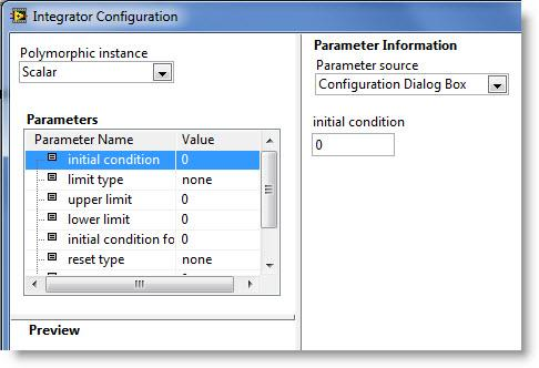 double-clicking the integrator VI block, you can access settings: and the output is the state.
