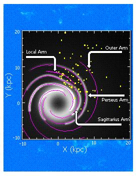 Young stellar population as tracer of Galactic