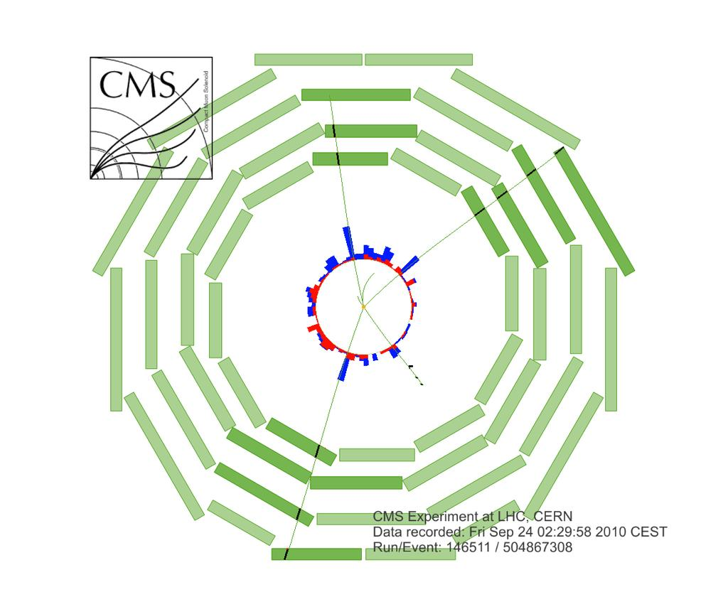 represent tracks of muons reconstructed using hits in both inner tracker and the muon system. Three muons were identified by the DTs and RPCs, the fourth one by the CSCs.