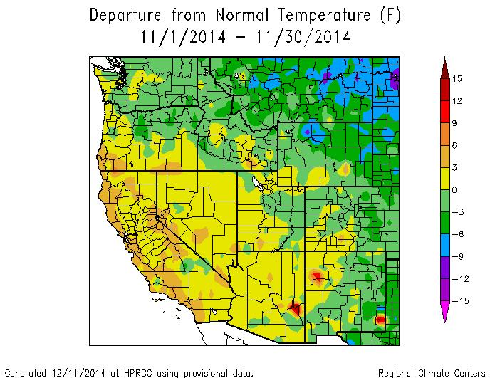 Mean Temperature Departure from Normal Oct