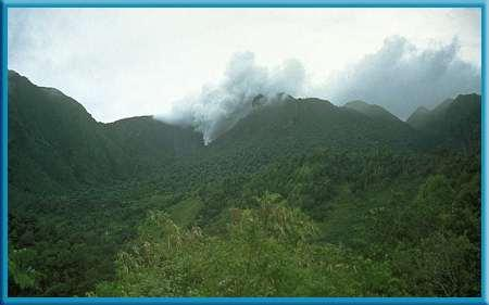 2 Volcanoes Eruptions on a Caribbean Island Soufrière (soo free UR) Hills volcano on the island of Montserrat was