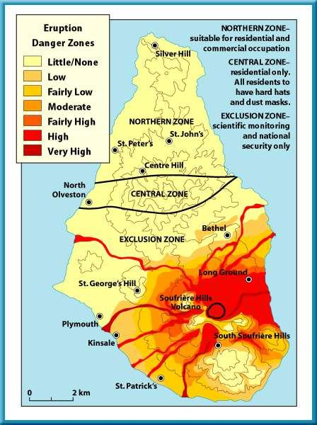 2 Volcanic Risks Volcanoes A volcanic risk map for Montserrat was