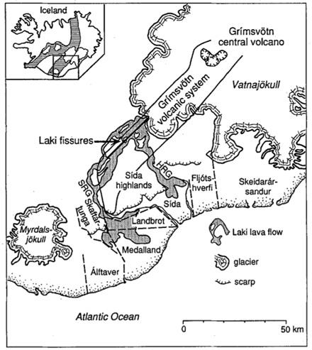 The Laki Eruption, Iceland (1783-1784) Duration 9 months (June February) Volume - 14.
