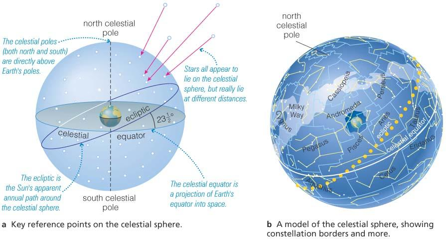 The Celestial Sphere The 3D Universe becomes two dimensional due to our perspective on Earth.