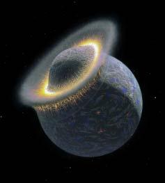 Earth s moon was probably created when a big planetesimal slammed into the newly forming Earth.