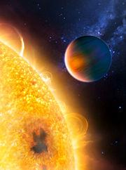 Exoplanet Weather! Transiting Planet: HD 189733 b (orbit of 0.03AU)! Surface temp estimated by Spitzer! Atmosphere has water vapor and methane!! Surface temp of 1000 K.
