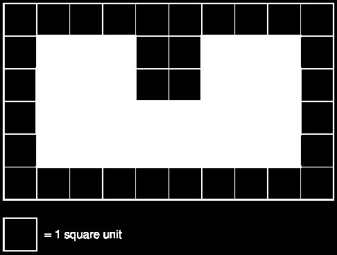 counting the number of squares in each of the shapes below.