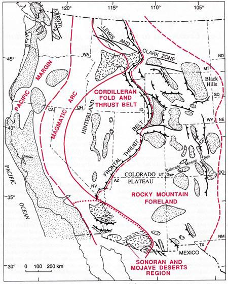foreland basin Central magmatic arc system Flanking fore-arc and back-arc basins Accretionary complexes Shifting terrains along the coast Pre-Laramide Configuration Fold and thrust belt Magmatic arc