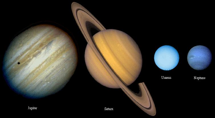 Earth Mars Jovian Planets- Huge gas giants Jupiter Saturn Uranus Neptune