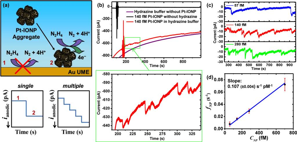 Figure 7. Chronoamperometric detection of Pt-IONP adsorption events on 25 μm diameter Au UME in the presence of 15.0 mm hydrazine, 50.0 mm sodium phosphate buffer, ph 7.