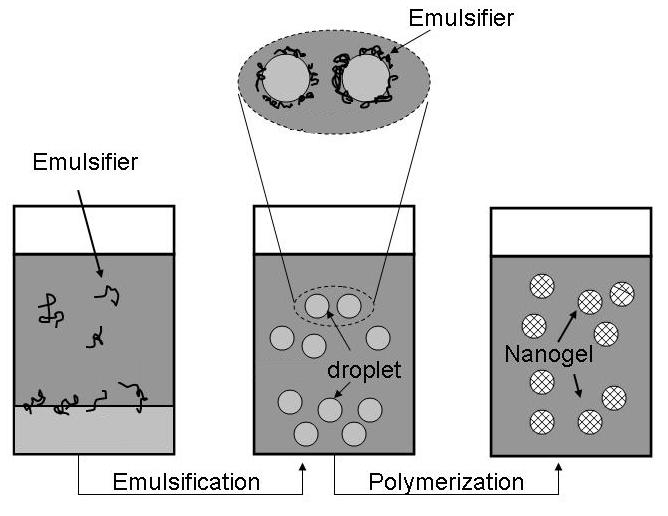 Figure 3. Scheme of a microemulsion reaction in the presence of an emulsifier. 1.3. Stabilization of Iron Oxide Nanoparticles The stability of the iron oxide nanoparticles in solution is of utmost importance in the preparation and storage process.