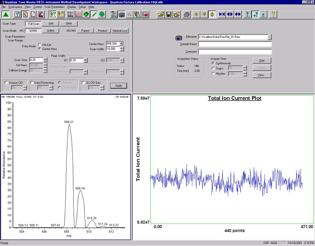 Tuning and Calibrating the Mass Spectrometer in H-ESI/MS Mode Establishing a Stable Ion Beam with the H-ESI Source Figure 3-10.