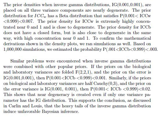 These two prolems remained under a wide variety of noninformative inverse gamma prior parameter settings examined.