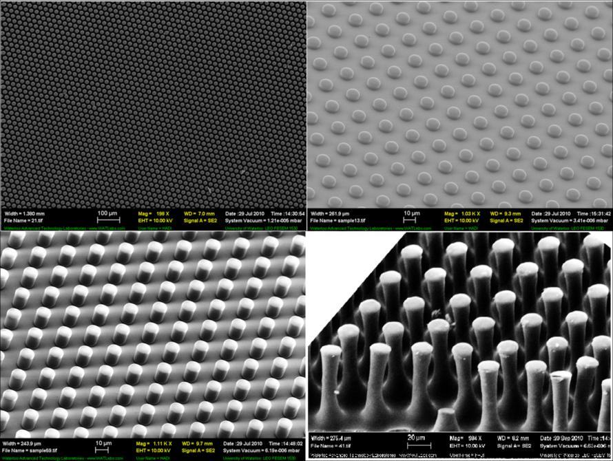 (A) (B) (C) (D) Figure 6-1: Typical SEM micrographs of fabricated micro-pillars. (A) aspect-ratio of 0.5 at a low magnification, (B) aspect-ratio of 0.5 at a high magnification, (C) aspect-ratio of 1.