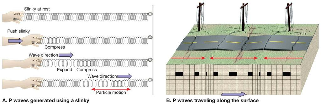 P-Waves Primary or Pressure Wave P-waves are compressional waves that travel through all materials including fluids such as gases and liquids.