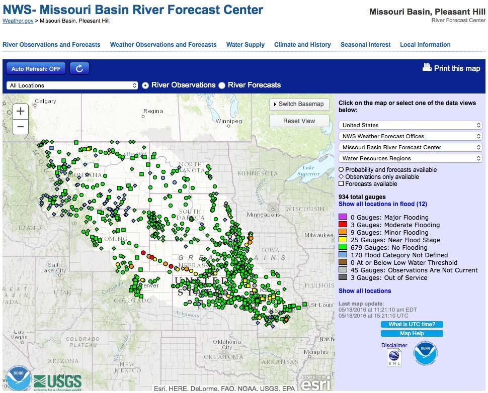 Missouri River Basin conditions May 18, 2016